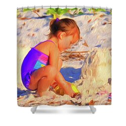 Building Sand Castles Shower Curtain