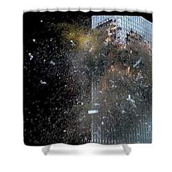 Shower Curtain featuring the digital art Building_explosion by Marcia Kelly