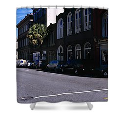 Buildings On Both Sides Of A Road Shower Curtain