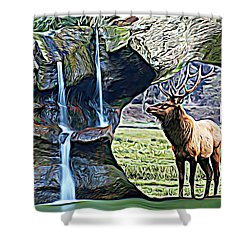 Bull Elk By A Waterfall Shower Curtain