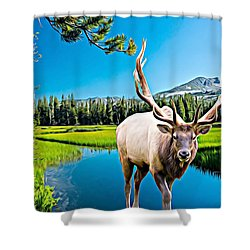 Bull Elk By The Lake Shower Curtain