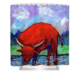 Bull On The River Shower Curtain by Maxim Komissarchik