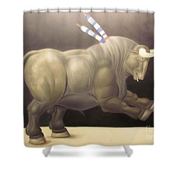 bull painting Botero Shower Curtain by Ted Pollard