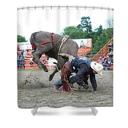 Bull Riding Action Shower Curtain
