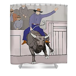 Bull Riding At Rodeo Shower Curtain by Fred Jinkins