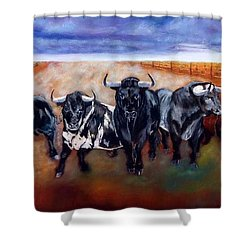 Bull Stampede Shower Curtain