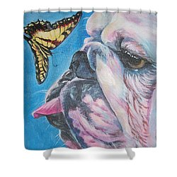 Bulldog And Butterfly Shower Curtain by Lee Ann Shepard