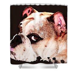 Bulldog Art - Let's Play Shower Curtain by Sharon Cummings