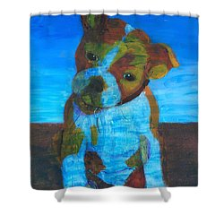 Shower Curtain featuring the painting Bulldog Puppy by Donald J Ryker III
