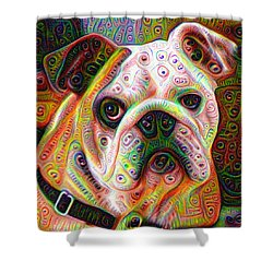Bulldog Surreal Deep Dream Image Shower Curtain