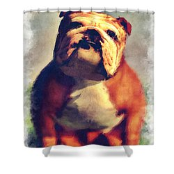 Shower Curtain featuring the digital art Bulldog... by Tim Fillingim