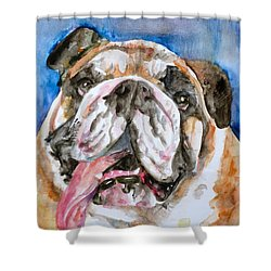 Shower Curtain featuring the painting Bulldog - Watercolor Portrait.3 by Fabrizio Cassetta
