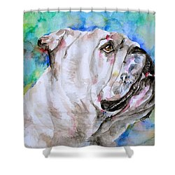 Shower Curtain featuring the painting Bulldog - Watercolor Portrait.4 by Fabrizio Cassetta