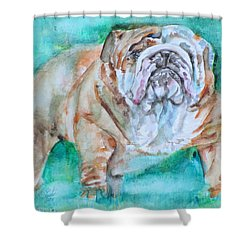 Shower Curtain featuring the painting Bulldog - Watercolor Portrait.6 by Fabrizio Cassetta