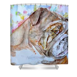 Shower Curtain featuring the painting Bulldog - Watercolor Portrait.7 by Fabrizio Cassetta