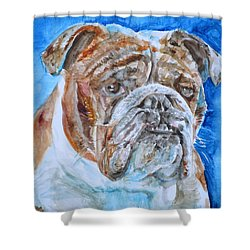 Shower Curtain featuring the painting Bulldog - Watercolor Portrait.8 by Fabrizio Cassetta