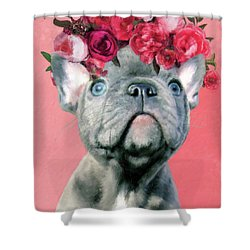 Bulldog With Flowers Shower Curtain