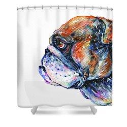 Bulldog Shower Curtain by Zaira Dzhaubaeva