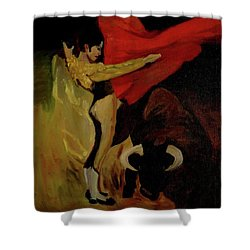 Shower Curtain featuring the painting Bullfighter By Mary Krupa by Bernadette Krupa