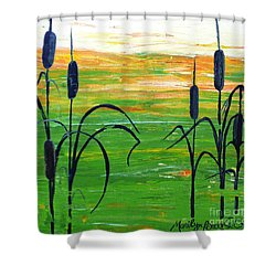 Bullrushes Shower Curtain
