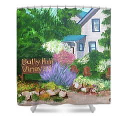 Shower Curtain featuring the painting Bully Hill Vineyard by Cynthia Morgan