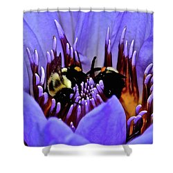Shower Curtain featuring the photograph Bumble Bee Bouquet by Frozen in Time Fine Art Photography