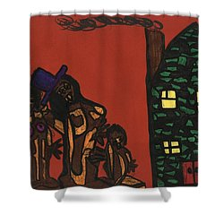 Bumpkin Dwellings Shower Curtain by Darrell Black