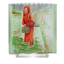 Bundled And Barefoot -- Portrait Of Old Asian Woman Outdoors Shower Curtain