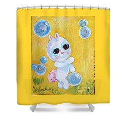Bunny And The Bubbles Painting For Children Shower Curtain