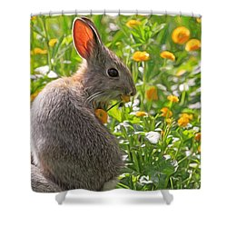 Bunny Brunch Shower Curtain by Donna Kennedy