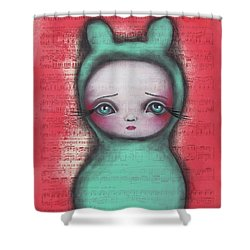Bunny Girl Shower Curtain by Abril Andrade Griffith
