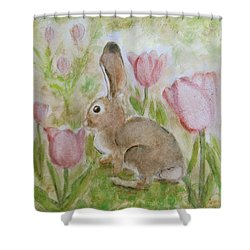 Bunny In The Tulips Shower Curtain
