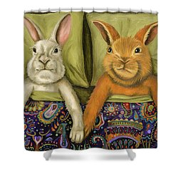 Bunny Love Shower Curtain by Leah Saulnier The Painting Maniac