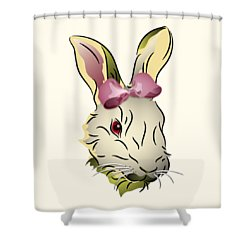 Shower Curtain featuring the digital art Bunny Rabbit With A Pink Bow by MM Anderson