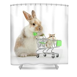 Bunny Shopping Shower Curtain