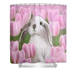 Bunny With Tulips Shower Curtain