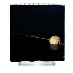 Shower Curtain featuring the photograph Buoy At Night by Stephen Mitchell