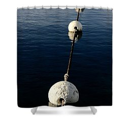Shower Curtain featuring the photograph Buoy Descending by Stephen Mitchell