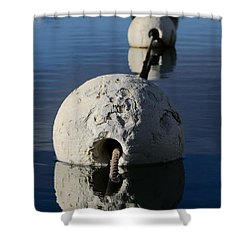 Shower Curtain featuring the photograph Buoy In Detail by Stephen Mitchell