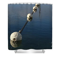 Shower Curtain featuring the photograph Buoys In Aligtnment by Stephen Mitchell