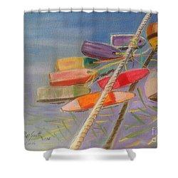 Buoys  Shower Curtain by Rae  Smith