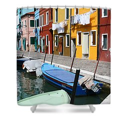 Burano Corner With Laundry Shower Curtain by Donna Corless