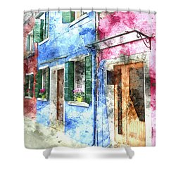 Burano Italy Buildings Shower Curtain