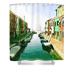Shower Curtain featuring the digital art Burano Venice by Kai Saarto