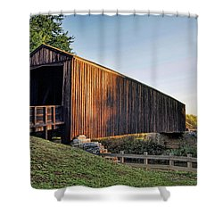Shower Curtain featuring the photograph Burfordville Covered Bridge by Cricket Hackmann