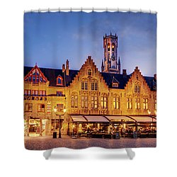 Shower Curtain featuring the photograph Burg Square Architecture At Night - Bruges by Barry O Carroll