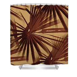 Burgundy And Coffee Tropical Beach Palm Vector Shower Curtain