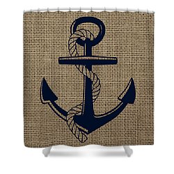 Burlap Anchor Shower Curtain by Brandi Fitzgerald