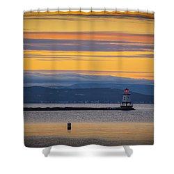 Burlington Lighthouse Sunset Shower Curtain