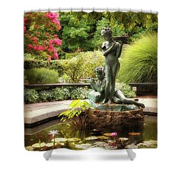 Burnett Fountain Garden Shower Curtain by Jessica Jenney